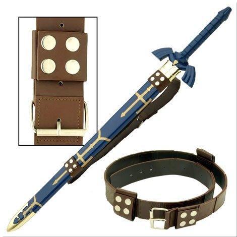 Link Hyrule Zelda Sword Leather Belt Strap, Brown, One Size (Fancy Dress Swords)