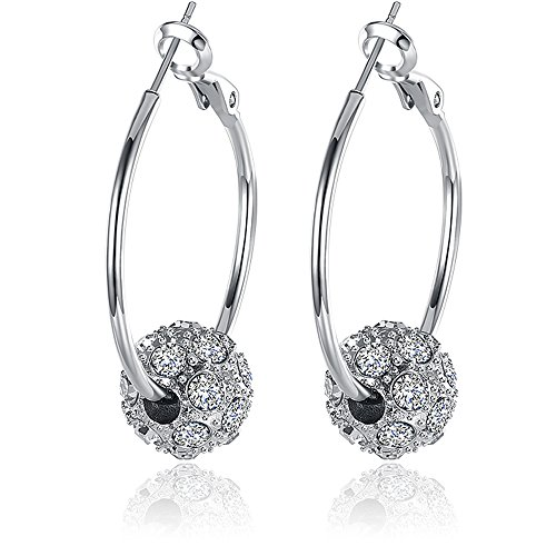 BEMI Romantic Gold/Silver/Rose Gold Plated Polishing Micro Inlay Rhinestone Ball Hoop Earrings for Woman Platinum (Platinum Ring Heavy)