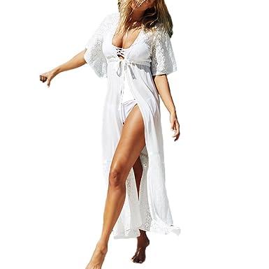3e0d8e18cff Women's Chiffon Lace Swimsuits Beach Cover Ups - Sexy Long Maxi Cardigan Bathing  Suit Coverups Swimwear Bikini Cover Up Dress