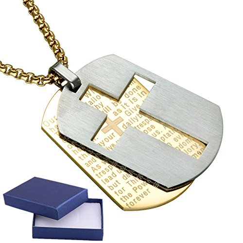 Sunling 2 In 1 Religious Catholic Bible Verse Lord's Prayers Engraved Baptism Cross Pendant Lucky Military Dog Tag Pendant First Communion Gift for Girls Boys,Kids,Daughter,Son,Niece,Nephew,Friends