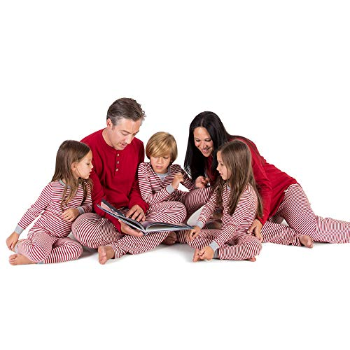 (Burt's Bees Baby Family Jammies, Candy Cane Stripe, Holiday Matching Pajamas, 100% Organic Cotton, Womens Henley)