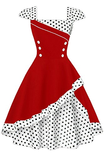 Babyonlinedress Women's Square Collar Polka-Dot Cap Sleeve Knee Fit-and-Flare Dress, Red+White Dot, Large