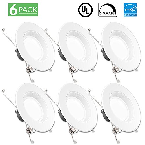 Sunco Lighting 6 Pack 5/6 Inch Baffle Recessed Retrofit Kit Dimmable LED Light, 13W (75W Replacement), 3000K Kelvin Warm White, Quick/Easy Can Install, 830 Lumen, Wet Rated