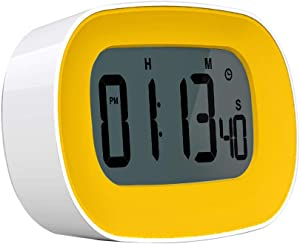 Digital Timer and Alarm Clock, Kitchen Stopwatch Timer in Big Bold Digits, 12/24 Hr Time, Count up/Countdown Stop Timing, Adjustable Volume (Silent/Gentle/Loud), Touch Button, Magnetic Back (Yellow)