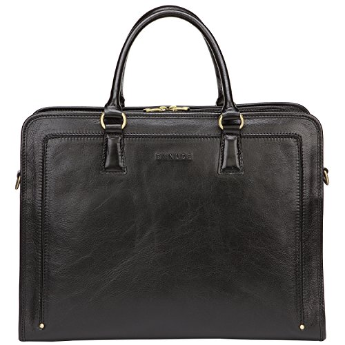 Banuce Full Grains Leather Briefcase Women Messenger Satchel Bag 14 Laptop Black ()