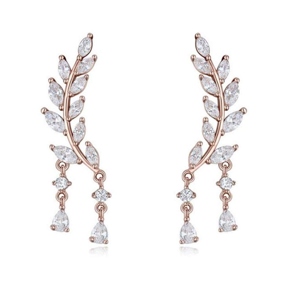 CZ Crystal Leaves Ear Cuffs Climber Earrings Sweep up Ear Wrap Pins 1 Pair (Rose Gold)