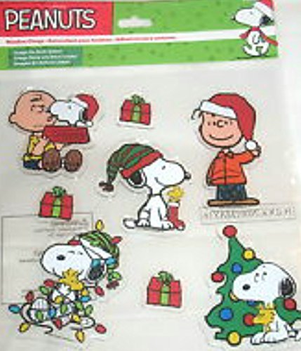Christmas Window Gel Stickers - Peanuts Holiday Christmas Tree Scene Window Clings 1 Package of 8