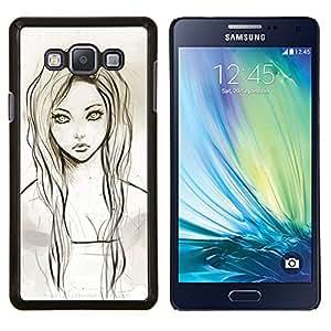 Jordan Colourful Shop - GIRL PORTRAIT GREEN EYES PENCIL DRAWING For Samsung Galaxy A7 - < Personalizado negro cubierta de la caja de pl????stico > -