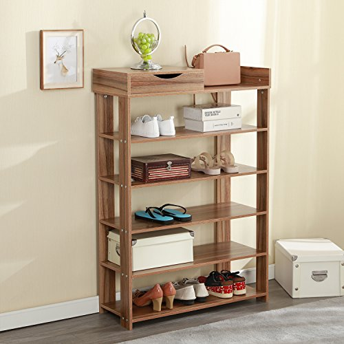ck 29.5 x 11.8 inch Free Standing Wooden Shoe Storage Shelf Shoe Organizer,Oak L25-O (Oak Shoe Storage)