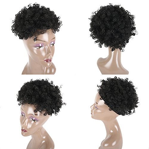 Search : DEYNGS Ponytail African American Short Afro Kinky Curly Wrap Synthetic Drawstring Puff Ponytail (Black-1B)