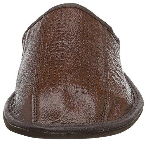 Auténtica piel de hombres zapatillas, chanclas, Mulas con suela anatómica o forro de lana. Varios colores marrón oscuro