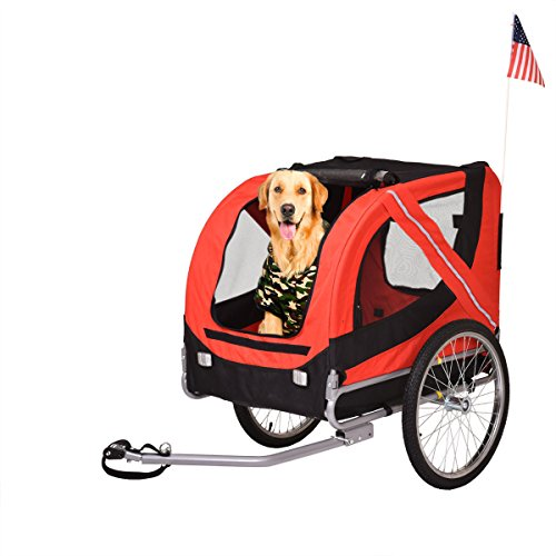 JAXPETY Folding Pet Carrier Dog Cat Bike Trailer Bicycle Stroller Jogging w/ Suspension