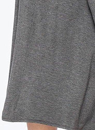 ACHICGIRL Mujer Mini Vestido Plisado con Mangas Largas de Color Sólido Gris