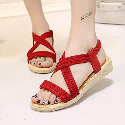 di solido fondo pesce il semplice sandals piatto Roman yalanshop sandali estate 41 di Roma rosso di raccordo colore elastico nYq87fwg