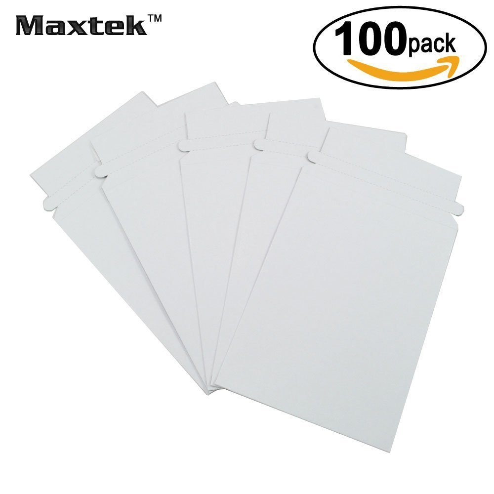 Maxtek 100 Pack Stay Flat Rigid Photo & Document White Cardboard Mailers, 6 x 8 Inches, Self Seal Adhesive Flap. Maxtek Corp.