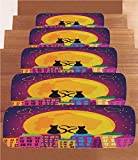 iPrint Non-Slip Carpets Stair Treads,Animal Decor,Cats on The Roof with Heart Shaped Tales Watching The Moon Light at Night in Town,Purple Orange,(Set of 5) 8.6''x27.5''