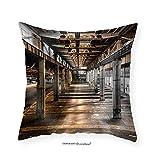 VROSELV Custom Cotton Linen Pillowcase abandoned old vehicle repair station - Fabric Home Decor 16''x16''