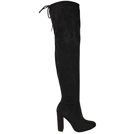 907c61cccf4 Amazon.com  Fashion Thirsty Womens Thigh High Boots Over The Knee Party  Stretch Block Mid Heel Size  Clothing