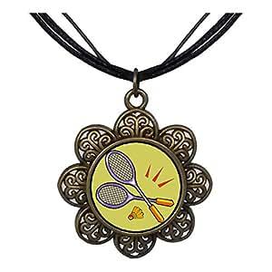 Chicforest Bronze Retro Style Olympics Badminton racket Sun Flower Pendant