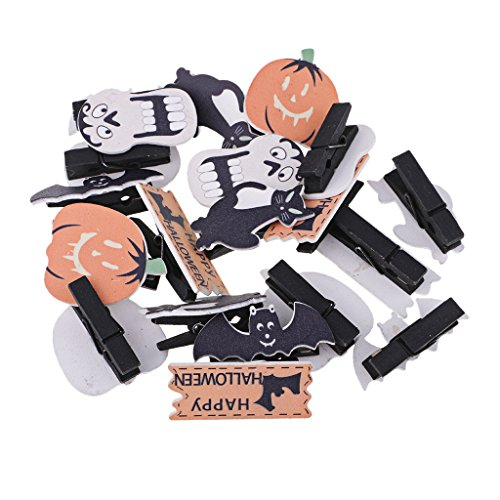 Fityle 20 Pieces Creative Halloween Wooden Clothespin Craft Clips for Scrapbooking Card Making Wood Crafts Halloween Party (Clothespin Halloween Crafts)