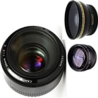 Canon 50mm 1.8 II Lens + High Definition Wide Angle Auxiliary Lens + High Definition Telephoto Auxiliary Lens