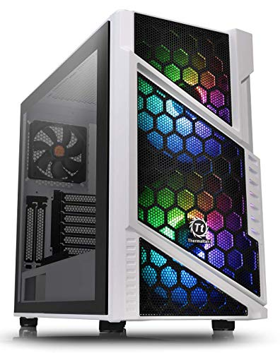 Thermaltake Commander C31 Snow Motherboard Sync ARGB ATX Mid Tower Computer Chassis with 2 200mm ARGB 5V Motherboard Sync RGB Front Fans + 1 120mm Rear Black Fan Pre-Installed CA-1N2-00M6WN-00