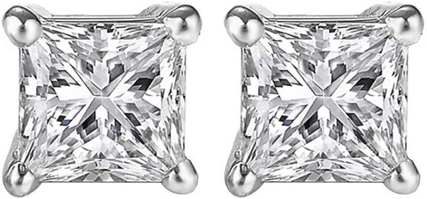 14k White Gold Princess Cut White Cubic Zirconia Stud Earrings
