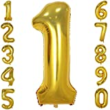 mylar number balloons - 40 Inch Big Number Balloons Gold Mylar Foil Large Number 1 Giant Helium Balloon Birthday Party Decoration