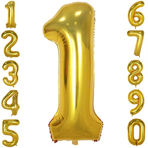 40 Inch Big Number Balloons Gold Mylar Foil Large Number 1 Giant Helium Balloon Birthday Party Decoration - Inflate Mylar Balloon
