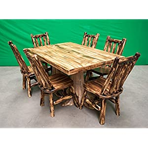 Midwest Log Furniture - Torched Cedar Stump Dining Table - 40x60-6 Chairs
