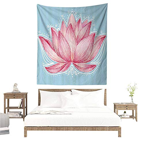 alisoso Wall Hanging Tapestry,Lotus Decor,Gardening Theme Illustration of a Lotus Flower Pattern Decorative Design,Pink Light Blue W55 x L55 inch Picnic Throw Rug Blanket ()