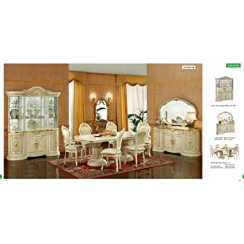 this item esf leonardo 7 pieces traditional ivory finish classic italian dining room set - Dining Room Items