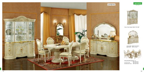 ESF Leonardo 7 Pieces Traditional Ivory Finish Classic Italian Dining room set
