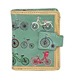 Shagwear Original Designs Small Zipper Bi-Fold Women's Wallet (Vintage Bicycles-Green)