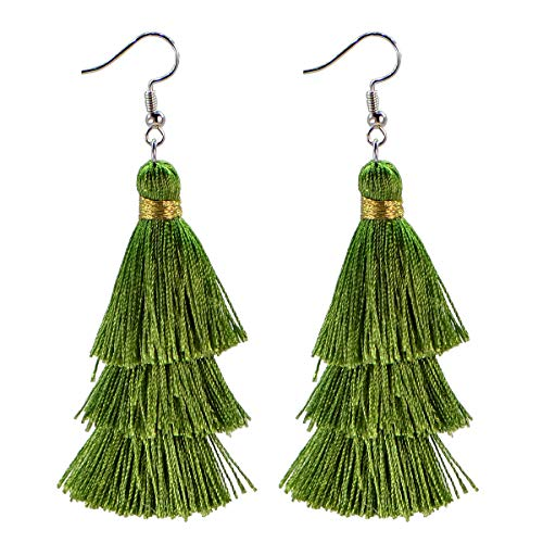 AD Beads Fashion Charm Crystal Silk Tassel 3 Layers Fan Fringe Dangle Earrings (21 Olive (Olive Green Cocktail Ring)