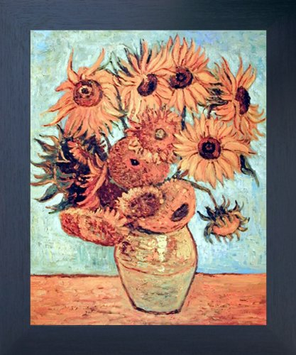 (Impact Posters Gallery Framed Wall Picture Vincent Van Gogh Vase with Twelve Sunflowers Espresso Art Print (20x24))