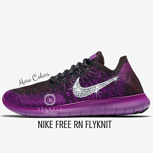 NIKE Bling, NIKE FREE RN FLYKNIT 2017, Purple, Custom Nike, Bling Nike, Bedazzled by Sparkle Boutique