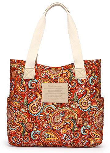 Malirona Canvas Beach Bags and Totes for Women Zippered Beach Shoulder Bag (Red) ()