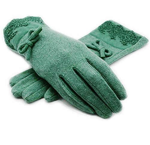 Green Lace Gloves (FakeFace Women's Fashion Warm Wool Lace Gloves for Dressing Driving)