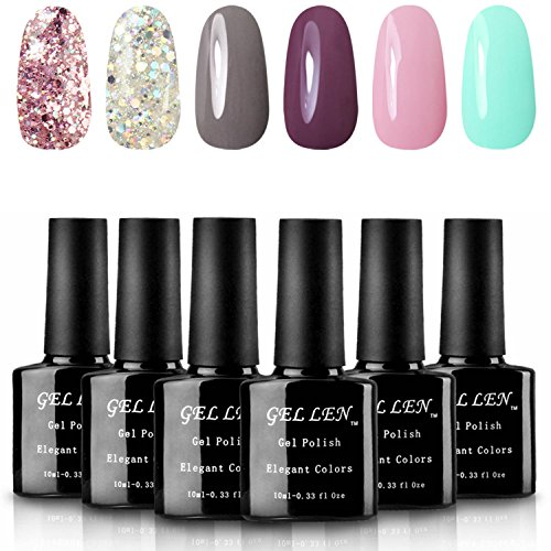 Gellen Various 6 Romantic Colors Gel Nail Polish Starter Kit Set