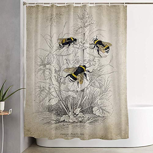 (lychi Shower Curtain Vintage Bumble Bee Illustration Printing Bath Curtain Bath Decorations Shower Curtains with Hooks for Bathroom)