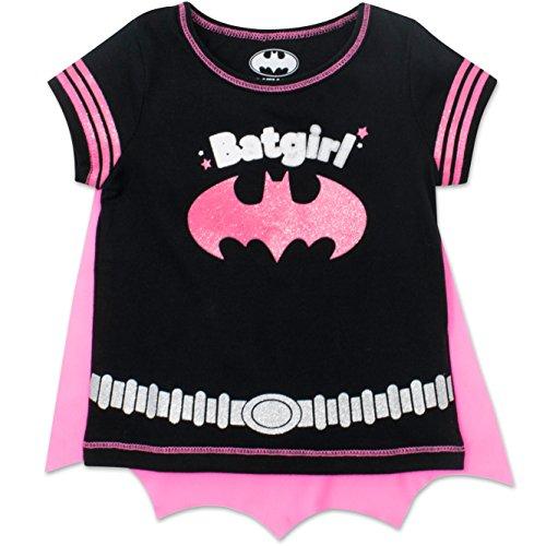 Batgirl Toddler Girls' T-shirt with Cape, Black (3T)