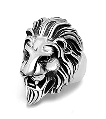 Sorella z Mens Alloy Metal Silver Tone Lion Head Ring Amazon