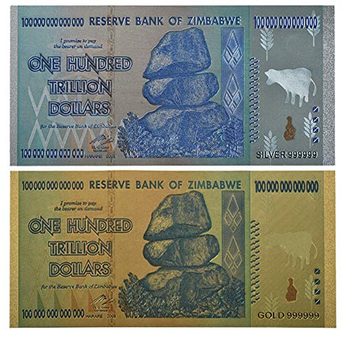 (Zimbabwe 100 Trillion Dollars Gold/Silver Plated X 2 Pieces (PCS) $ 1,000,000,000,000 Zimbabwe Currency Note 24kt Plated Banknote One-of-a-Kind Collectors Item, Novelty Commemorative Replica)
