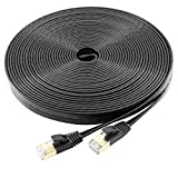 Cat7 Ethernet Cable 100 Ft Flat, jadaol Shielded (STP) Network Cable Cat 7 Flat Ethernet Patch Cable, internet computer cable with Snagless Rj45 Connectors - 100 Feet Black (30meters)