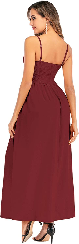 Double Chic Womens Dress Tie Front V-Neck Spaghetti Strap Button Down A-Line Swing Maxi Dress