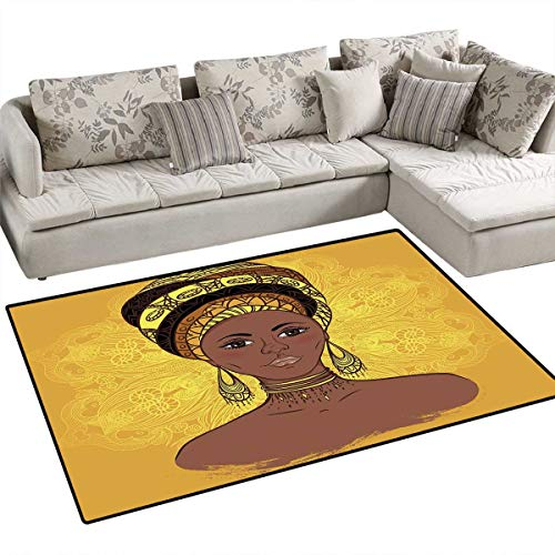 African Woman Area Rugs for Bedroom Tribal Woman Portrait in Turban Ornate Mandala Inspired Round Motif Door Mats for Inside Non Slip Backing 55