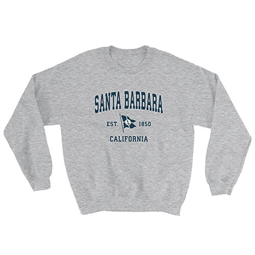 Santa Barbara California CA Sweatshirt - Vintage Boat Anchor Flag Design ()