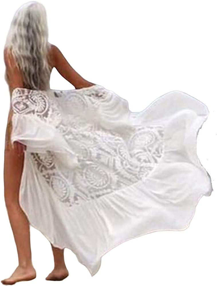 Beach Coverups For Women Long Swimsuit Cover Up Lace Embroidered White Kimono Cardigan 927 White At Amazon Women S Clothing Store