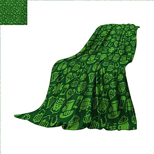 Irish Custom Design Cozy Flannel Blanket Kiss Me Im Irish Humorous Phrase with Ale Shamrocks Hats Traditional Symbols Lightweight Blanket Extra Big 80 x 60 inch Green Lime Green ()